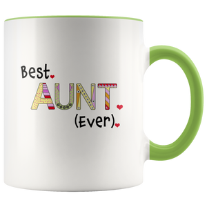 Best Aunt Ever 11 ounce Coffee Mug - Tea Cup - Hot Chocolate Mug - Birthday, Christmas Chanukkah Present for Auntie - Island Dog T-Shirt Company