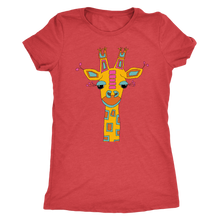 Illustrated Giraffe Women's Ultra Soft Triblend Short Sleeved Comfort Tee - Island Dog T-Shirt Company