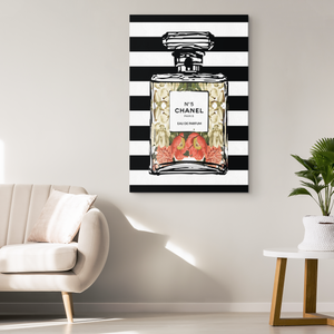 Coco Chanel No 5 Perfume Wrapped Canvas Boho Art - Antique Peonies Over Black & White Stripes - Island Dog T-Shirt Company
