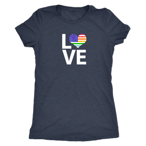 LGBTQ - Rainbow Pride US Flag LOVE- Vintage Distressed Women's Short Sleeve Comfort Tee - Island Dog T-Shirt Company