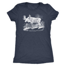 Vintage Moose Ladies' Retro Tee - Women's Ultra Soft Comfort Short Sleeve Tee - Moose T-shirt for Her - Island Dog T-Shirt Company