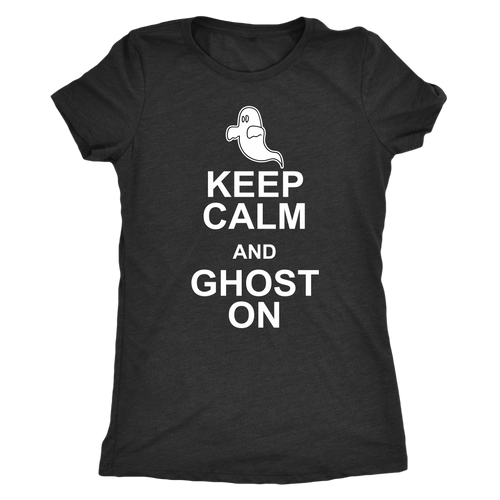 Keep Calm and Ghost On - Funny Women's Ghostly Halloween Tee for Ladies - Island Dog T-Shirt Company