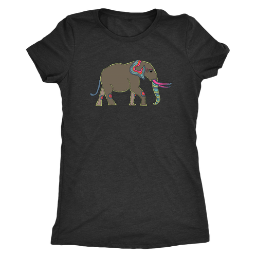 Illustrated Elephant Women's Ultra Soft Short Sleeved Comfort Tee - Island Dog T-Shirt Company