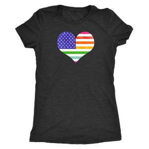 LGBTQ - Rainbow Pride US Flag Heart - Vintage Distressed Women's Short Sleeve Comfort - Island Dog T-Shirt Company