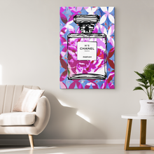 Coco Chanel No 5 Perfume Wrapped Canvas Boho Satement Art over Fuchsia Fans 2 - NEW - Island Dog T-Shirt Company