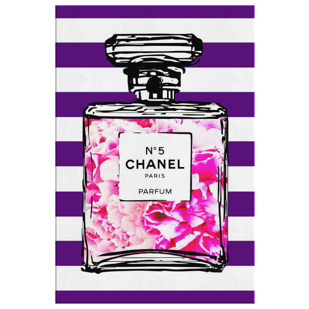 Coco Chanel No 5 Perfume Wrapped Canvas Boho Art - Bottled Peony Blossoms Over Purple & White Stripes - NEW - Island Dog T-Shirt Company