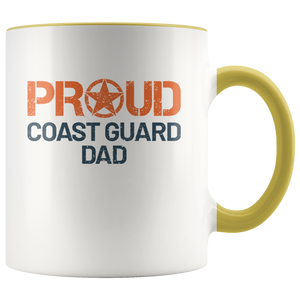 Proud Coast Guard Dad - USCG - United States Coast Guard - 11 oz 2-Color Coffee Mug for Coastie's Father - Island Dog T-Shirt Company