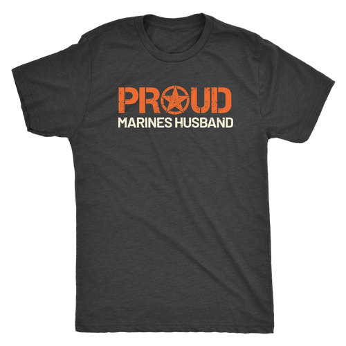 Proud Husband of a Marine - Men's Ultra Soft Short Sleeve Military Hubbie Tee - Island Dog T-Shirt Company