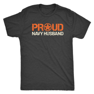 Proud Navy Husband - Men's Ultra Comfort Short Sleeve Military Hubbie Tee - Island Dog T-Shirt Company