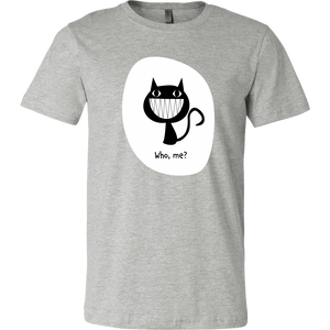 Who, Me? - Funny Men's Cat Tee with Grinning Black Cat Illustration - Island Dog T-Shirt Company