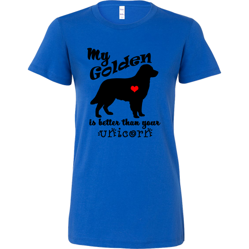 My Golden Retriever is Better Than Your Unicorn Women's T-Shirt - Long Body Tee - Island Dog T-Shirt Company