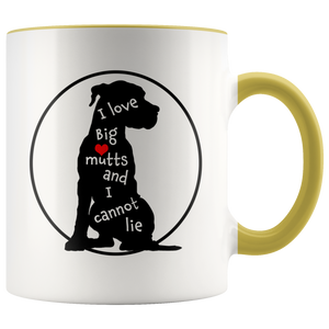I Love Big Mutts and I Cannot Lie - Funny Dog Lover Coffee Mug - 2-Tone 11 oz Color Accent Cup - Island Dog T-Shirt Company
