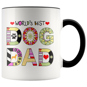 Worlds Best Dog Dad Mug - Fur Baby Daddy Coffee Mug for Men - Best Dog Father Ever with Accent Colors