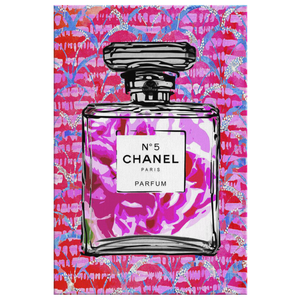 Coco Chanel No 5 Perfume Wrapped Canvas Boho Satement Art over Pink Tie Dye Fans - Island Dog T-Shirt Company