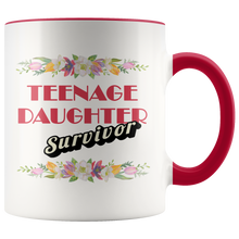 Teenage Daughter Survivor - Funny Mom or Dad Coffee Mug - 11 oz 2-Color Coffee Cup for Parents - Island Dog T-Shirt Company