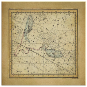 Vintage Zodiac Wall Art - Pisces Constellation Maps - Constellation Canvas Art - Zodiac Statement Wall Decor - February March Horoscope Stars - Square Canvas - 4 Sizes