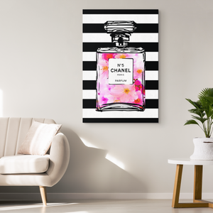 Coco Chanel No 5 Perfume Wrapped Canvas Boho Art - Bottled Cherry Blossoms Over Black & White Stripes - Island Dog T-Shirt Company