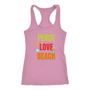 Peace Love Beach - Ladies Summer Beach Vacation Workout Racerback Tee - Island Dog T-Shirt Company