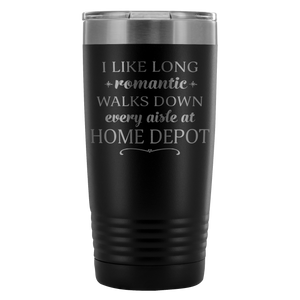 Insulated Coffee Travel Mugs - I Like Long Romantic Walks Down Every Aisle At Home Depot Funny Coffee Mugs for Women & Men - 20 oz Funny Coffee To Go Mug - Island Dog T-Shirt Company