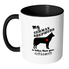 My German Shepherd is Better Than Your Unicorn Two Tone Ceramic Coffee Mug with Accent Handle - Island Dog T-Shirt Company