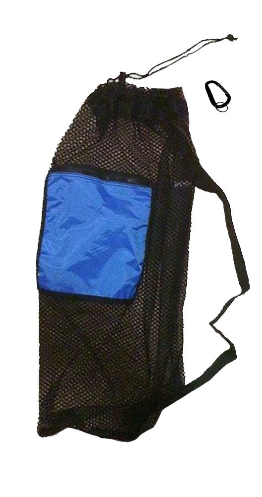 101SNORKEL Blue Mesh Drawstring Snorkel Bag with Zip Pocket