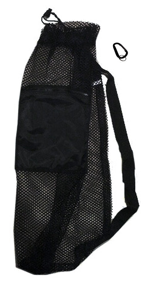 101SNORKEL Black Mesh Drawstring Snorkel Bag with Zip Pocket