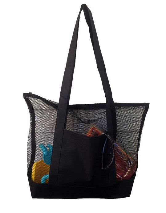 101SNORKEL Mesh Beach Tote Bag Black - Good for the Beach - 20 in X 15 in X 5 In