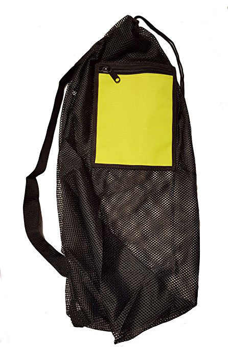 Mesh Drawstring Snorkel Bag with Yellow Zip Pocket