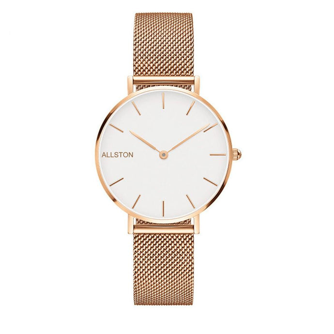 Luxury quartz women's stainless steel strap wrist watch