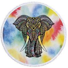 Bad Bones Java Beach Towel 2 Round Elephant Tassel Towel