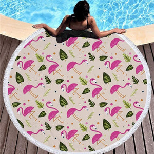 Bad Bones Java Beach Towel 2 Round Flamingo Tassel Towel