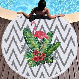 Bad Bones Java Beach Towel 3 Round Flamingo Tassel Towel