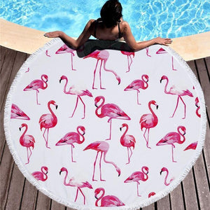 Bad Bones Java Beach Towel 4 Round Flamingo Tassel Towel