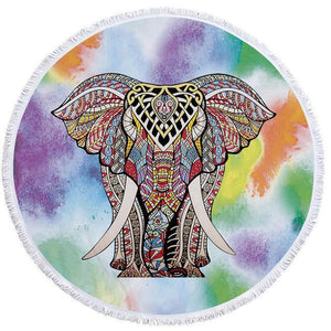 Bad Bones Java Beach Towel 6 Round Elephant Tassel Towel