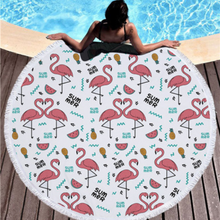 Bad Bones Java Beach Towel 6 Round Flamingo Tassel Towel