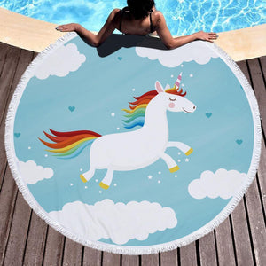 Bad Bones Java Beach Towel 6 Round Unicorn Tassel Towel