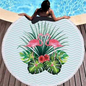 Bad Bones Java Beach Towel 7 Round Flamingo Tassel Towel