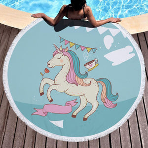Bad Bones Java Beach Towel 7 Round Unicorn Tassel Towel