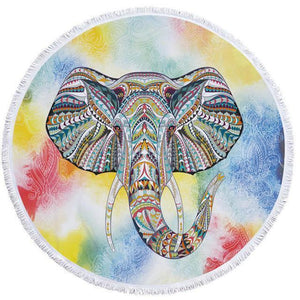 Bad Bones Java Beach Towel 8 Round Elephant Tassel Towel