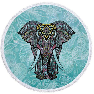 Bad Bones Java Beach Towel 9 Round Elephant Tassel Towel