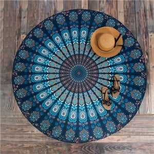 Bad Bones Java Beach Towel T10P01 Round Peacock Mandala Towel