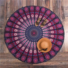 Bad Bones Java Beach Towel T10P02 Round Peacock Mandala Towel