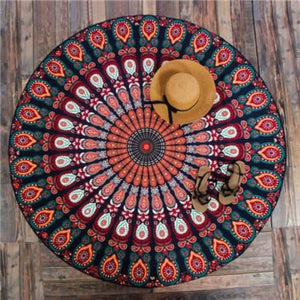 Bad Bones Java Beach Towel T10P05 Round Peacock Mandala Towel