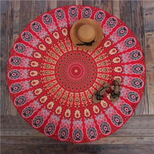 Bad Bones Java Beach Towel T10P06 Round Peacock Mandala Towel