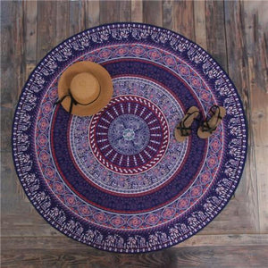 Bad Bones Java Beach Towel TL10 Round Peacock Mandala Towel