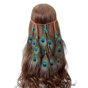 Bad Bones Java Hair Accessories #4 Peacock Feather Hippie Headdress