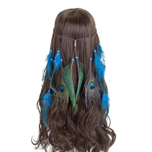 Bad Bones Java Hair Accessories #5 Peacock Feather Hippie Headdress