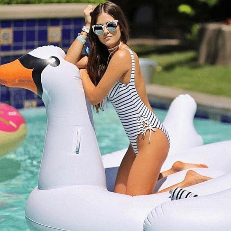 Bad Bones Java Pool Float Giant Inflatable Swan Pool Floatie