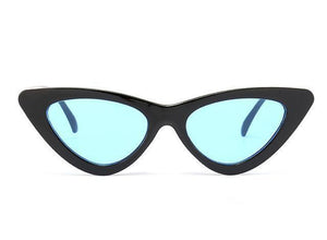 Bad Bones Java Sunglasses Black Blue Slim Vintage Cat Eye Sunglasses