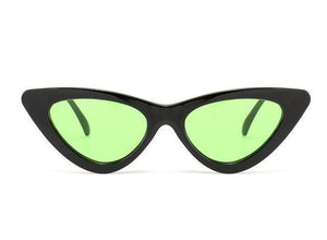 Bad Bones Java Sunglasses Black Green Slim Vintage Cat Eye Sunglasses
